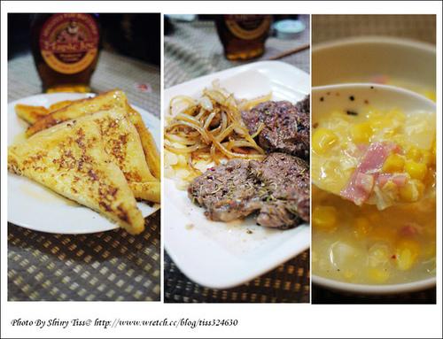 法是土司、玉米濃湯、牛排食譜